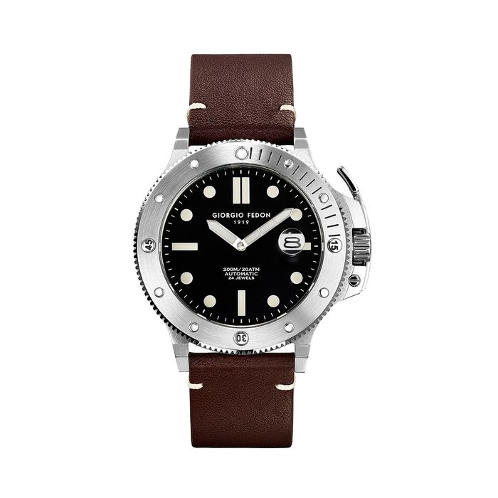 """Giorgio Fedon - Automatic Aquamarine Stainless Steel Black Dial Brown Leather Strap - GFCL002 """"NO RESERVE PRICE"""" - Uomo - 2011-presente"""