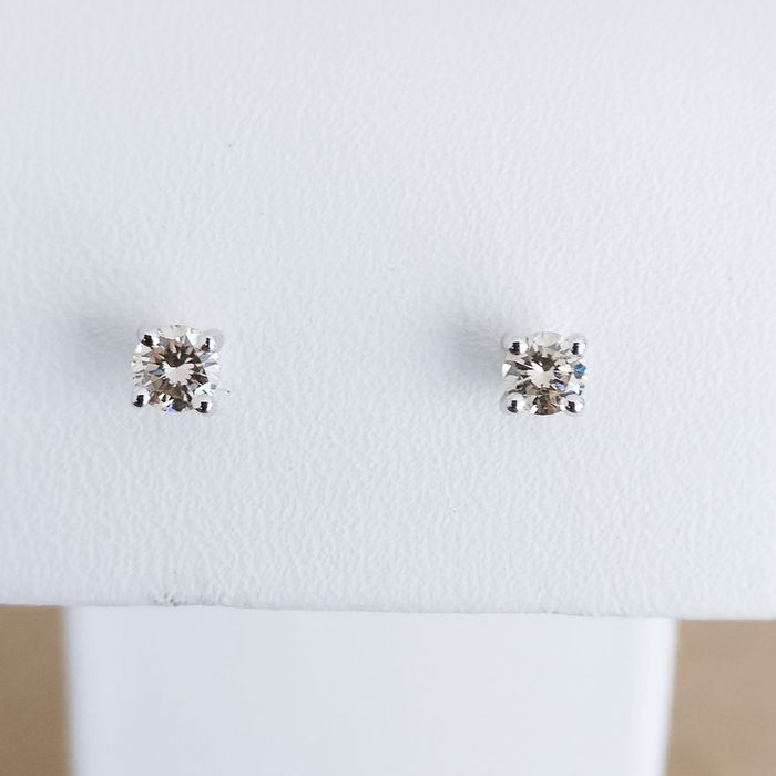 18 quilates Oro blanco - Pendientes - 0.19 ct Diamante