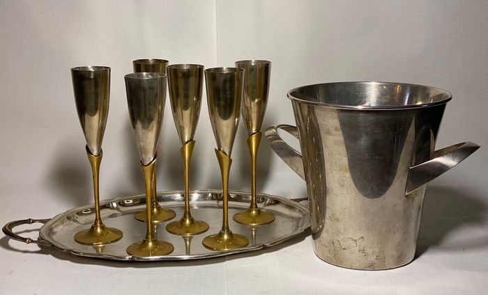W M F Silver-Plate Champagne Bucket & 6 silver plated goblets  and  tray Alpadur, Spain - Silverplate