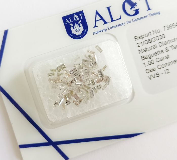 72 pcs Diamantes - 1.00 ct - Baguette - pink - VVS2