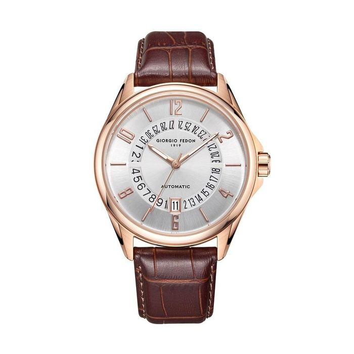 """Giorgio Fedon - Automatic PAU IP Rose Gold Silver Dial Brown Leather Strap - GFAU007 """"NO RESERVE PRICE"""" - Heren - 2011-heden"""