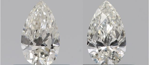 2 pcs Diamants - 0.62 ct - Poire - I, J - VS2