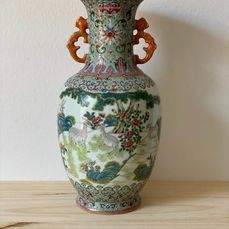 Vaas - Porselein - Famille Rose Turquoise Ground Three rams Vase - China - Eind 19e eeuw / begin 20e eeuw