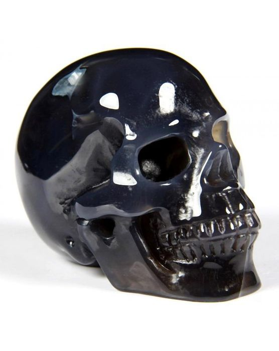 Grey Agate Carved Realistic Skull - 64×49×40 mm - 175 g