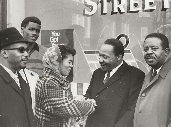 Norbert J. Yassanye / Plain Dealer Photo - Martin Luther King jr. and Ralph Abernathy, Voter Pledge at the NAACP, 1967