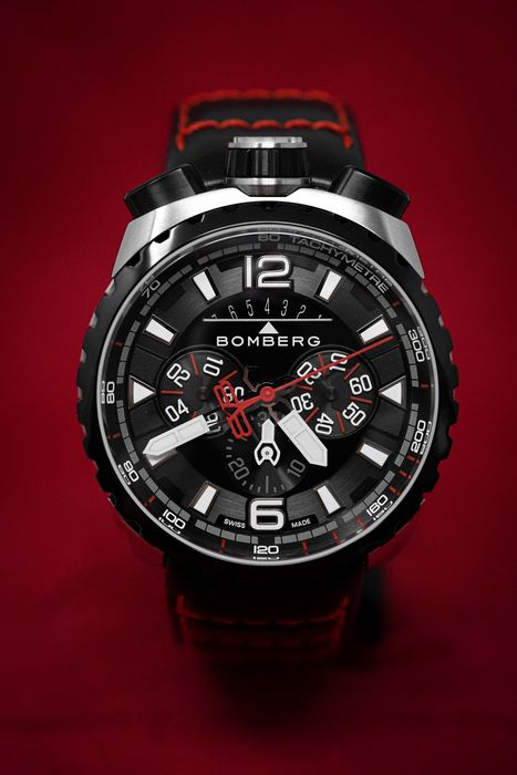 Bomberg - BOLT-68 Chronograph Watch Stainless Steel Leather Strap + Medallion and Chain - BS45CHSP.050-4.3 - Men - Brand New