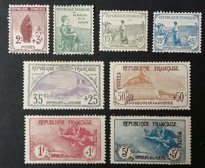 Francia 1917/18 - First Orphans series, complete. - Yvert 148-55