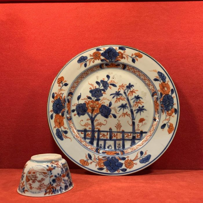 Plate, Tea cup (2) - Famille rose - Porcelain - China - Qianlong (1736-1795)
