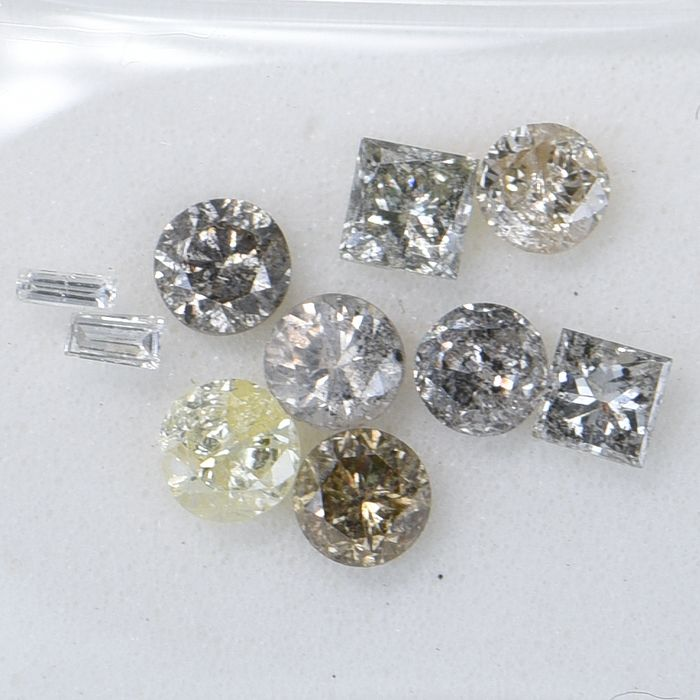 10 pcs Diamond - 0.77 ct - Multiple Shapes - Multiple Colors - VS2 - I1  GWLAB certified    ** No Reserve Price **