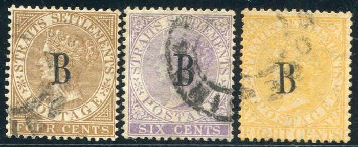 British PO's in SIAM (BANGKOK) 1882 - Selection overprinted stamps, Crown CA - Stanley Gibbons 17, 19, 20