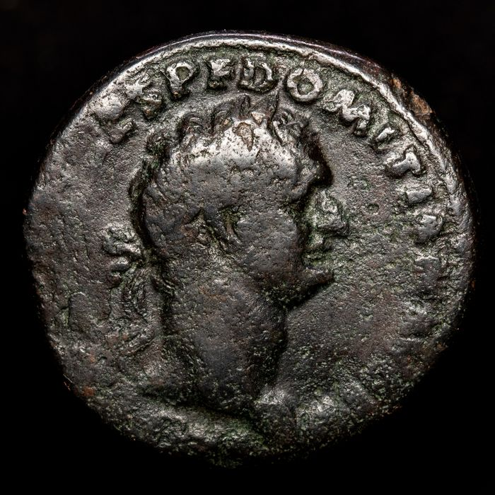 Romeinse Rijk - Æ As, Domitian (81-96 A.D.) Rome - TR P COS VIII DES VIIII P P, Minerva holding javelin and shield