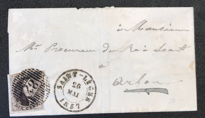 Belgio 1857/1860 - Medailon 10 / 10A on letters with DISTRIBUTION cancellation D48 Saint-Leger & D36 Anthee - OBP / COB 10/10A