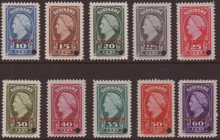 Suriname 1945 - Queen Wilhelmina with overprint 'specimen' and a perforation hole - NVPH 229/238