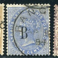 Britse PO`s in SIAM (Bangkok) 1882/1885 - Selection overprinted stamps, Crown CA - Stanley Gibbons 17, 18, 22