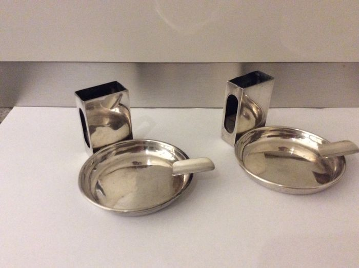 Two Ashtrays with holder for matches (2) - .925 silver - Padgett & Braham ltd, 1926 - U.K. - Early 20th century