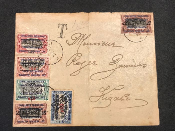 Ruanda-Urundi 1922 - Complete series with overprint 'Mechelen', used as postage due surcharge stamps on a letter [S] - OBP / COB TX op 36-44