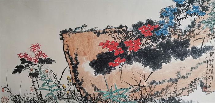 Inktschildering - Rijstpapier - 《潘天寿-记雁荡山花》Made after Pan Tianshou - China - Tweede helft 20e eeuw