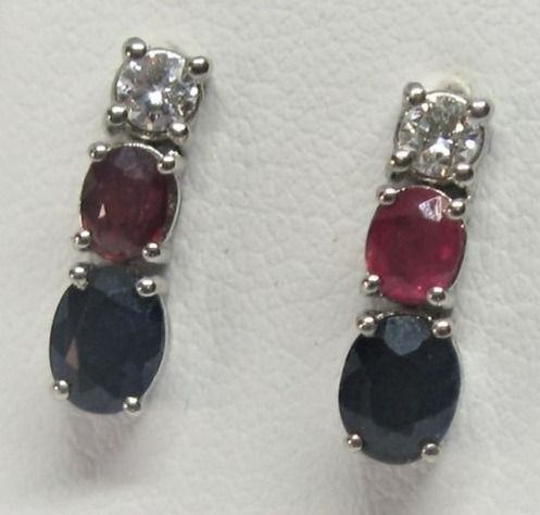 18 kt. White gold - Earrings - 1.24 ct Sapphire - Diamonds, Ruby