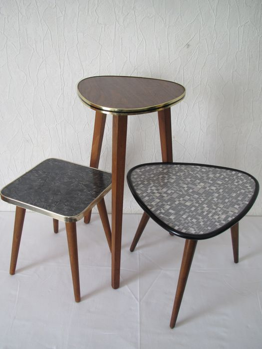 Three vintage side or flower tables from the 1960s