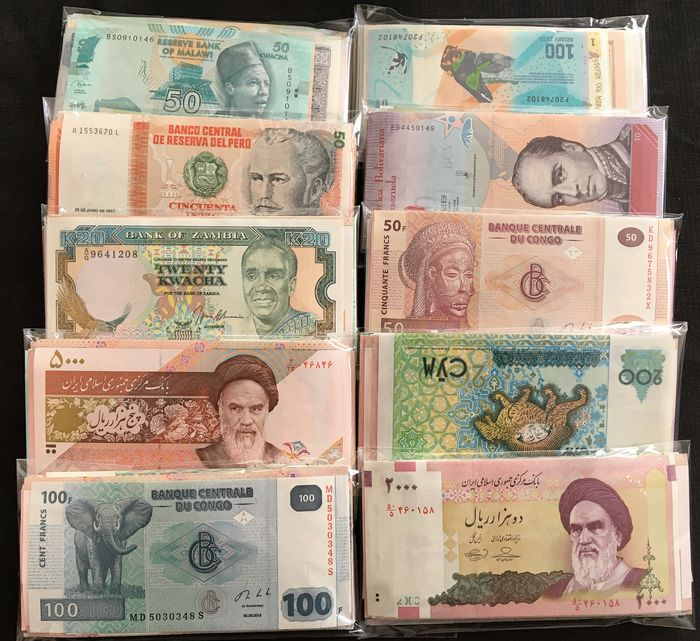 Wereld - Lot various banknotes 10 x 100 different - (1000 banknotes)