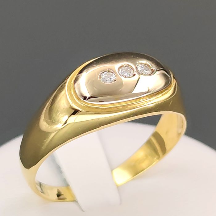 18 kt. Yellow gold - Ring - 0.09 ct Diamond