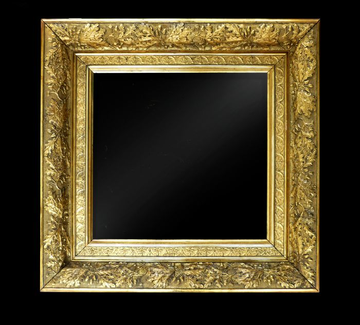 Painting, picture frame decorated with oak leaf ornaments - Louis XIV Style