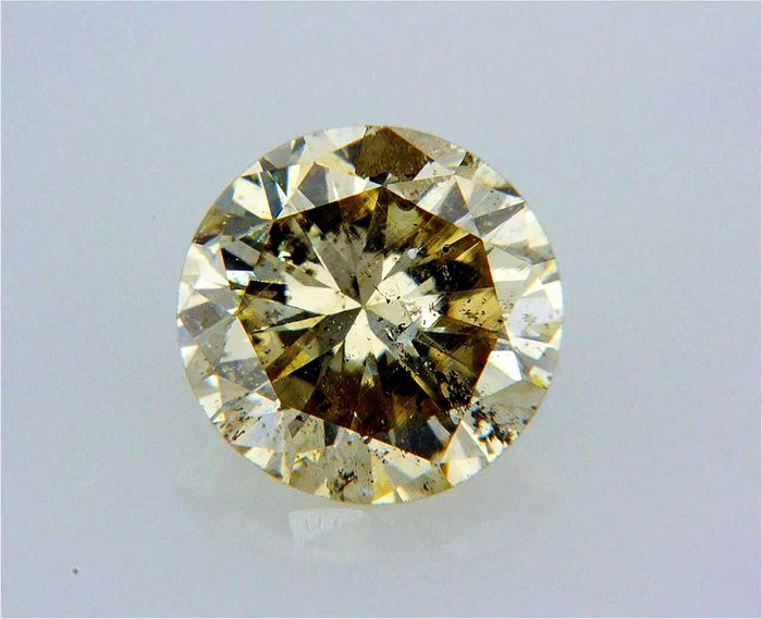 1 pcs Diamond - 0.74 ct - Round - fancy yellowish brown - SI3, NO RESERVE PRICE !