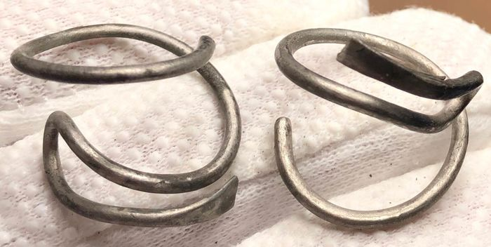 Viking Silver  Two Very Curious and nicely Toned Beard Rings with Triangle Terminals/Ends