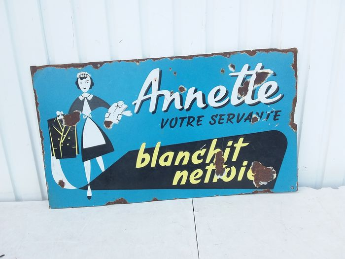 Rare double-sided advertising sign Annette .. - Enamel