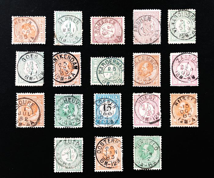 Netherlands 1869/1876 - Double-lettered cancels, a collection with complete cancels