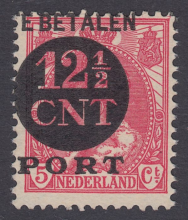 Netherlands 1924 - Postage due stamp, misprint with strongly shifted black overprint - NVPH P68