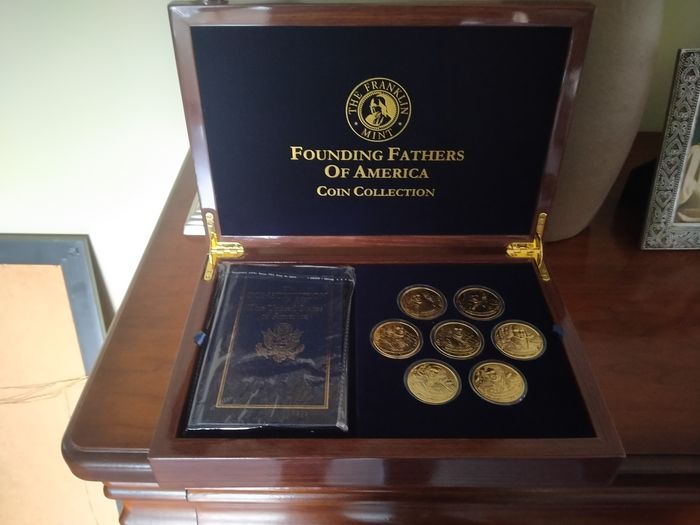 Franklin Mint - Collection de pièces Founding Fathers of America - Plaqué or 24 carats - État neuf. - Or 999 (24 ct)