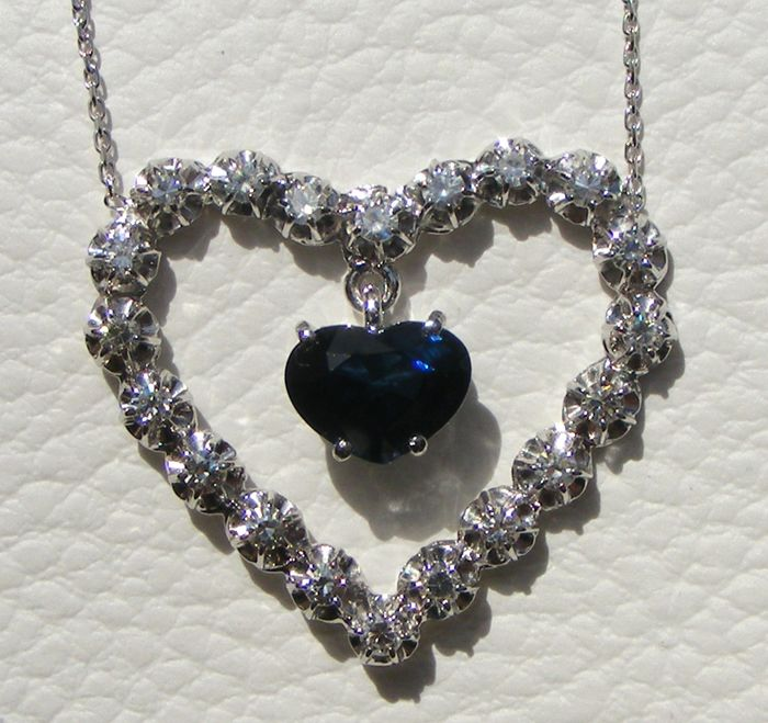 GIA certificat - 18 kt. White gold - Necklace - 3.03 ct Blue sapphire VVS1 - VS diamonds of 1.60 ct - No reserve price
