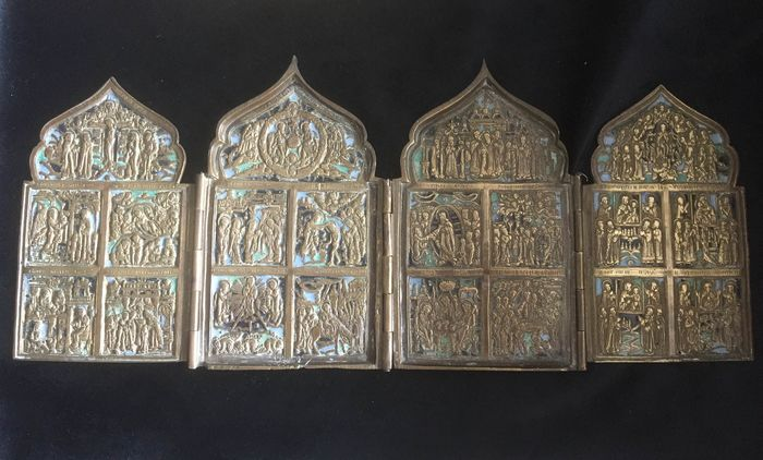 Icon Russian four-part - Bronze, Patinated bronze - 19th century