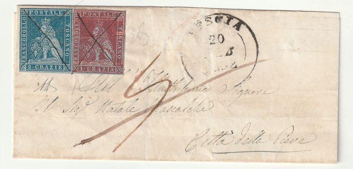 Anciens états italiens - Toscane 1852 - 1 and 2 cr. on light blue paper on letter from Pescia (cancellation in pen Pt.5) to Città della Pieve - Sassone NN. 4b, 5b