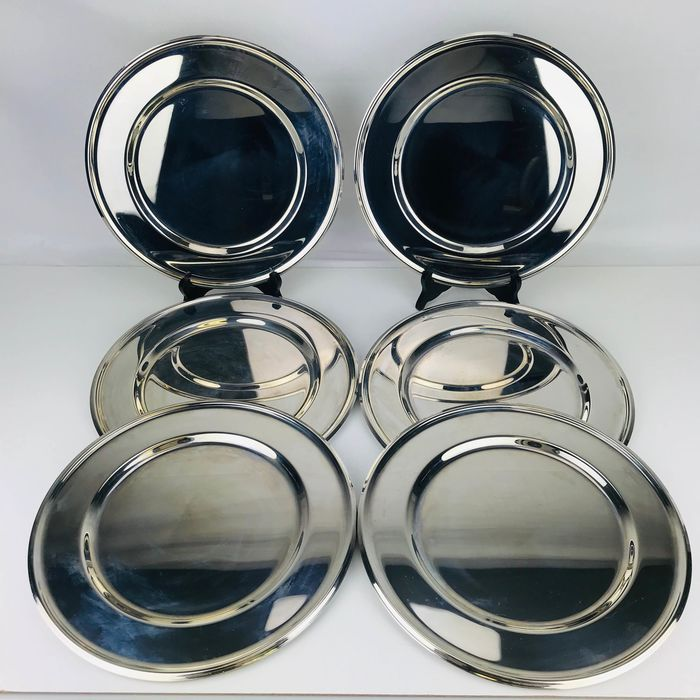 Set of 12 silver plated bottom plates Ca. 1980 (12) - Verzilverd, stainless steel