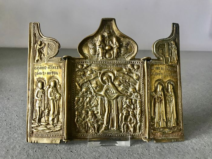 Travel icon triptych Mother of God Joy of all Suffering - Bronze - about 1800