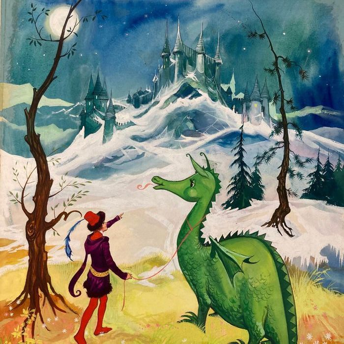 Embleton, Gerry - Original color drawing - The Gentle Dragon and The Ice Castle