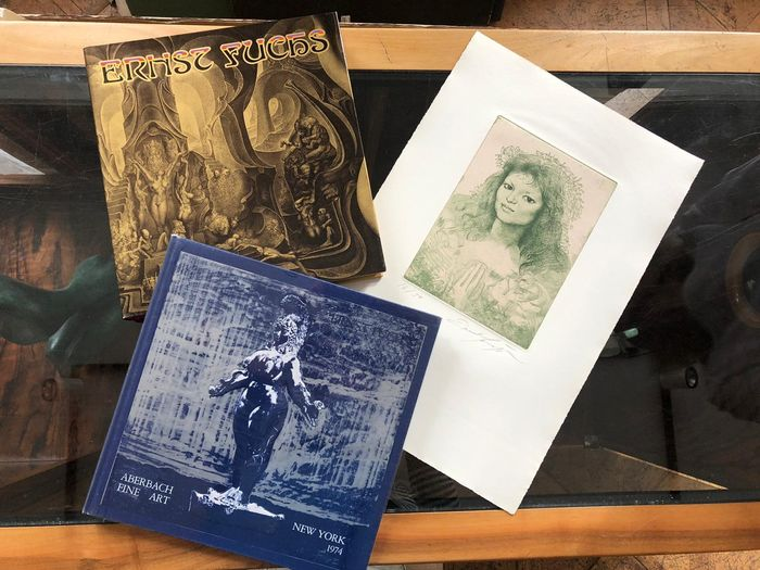 Signed; Ernst Fuchs, - Lot with 2 books [+ signed etching] - 1974/1977