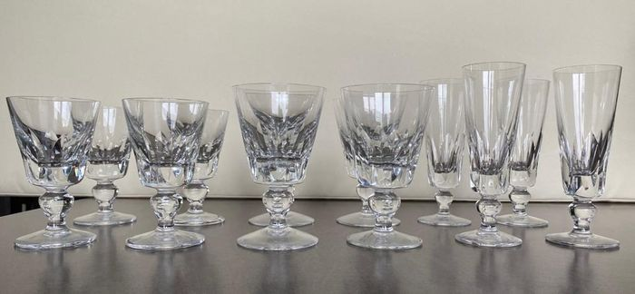 Saint Louis - Champagne glasses, Wine glasses, Water glasses (12) - Crystal