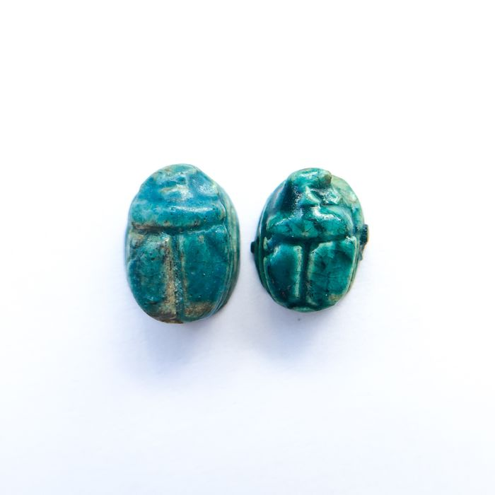 Ancient Egyptian Faience Miniature Amulets of Scarab Seals - 5.5×7.8×10.2 mm - (2)