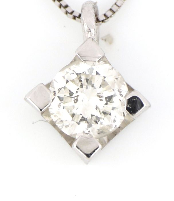 18 kt. White gold - Necklace, Necklace with pendant - 0.25 ct Diamond