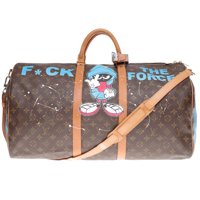 Louis Vuitton - Customized Keepall 55 strap Monogram  'Popeye' by PatBo Weekend bag