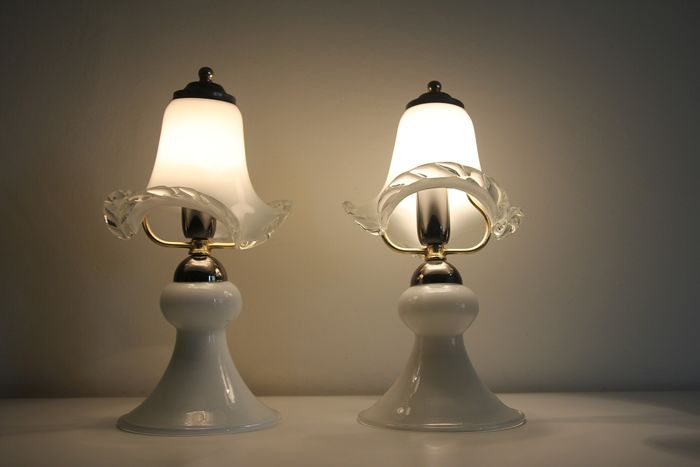 Pair table lamp in opal glass - Murano glass and gilded steel
