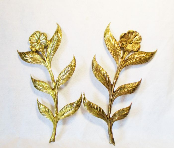Large (H42) wall decorations (2) - Brass, Gilt