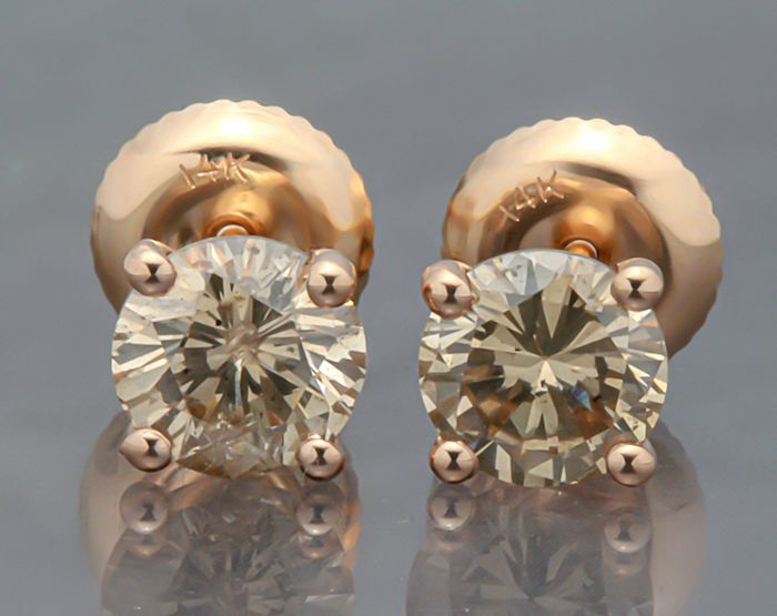 14 kt. Pink gold - Earrings - 1.20 ct Diamond - Diamond