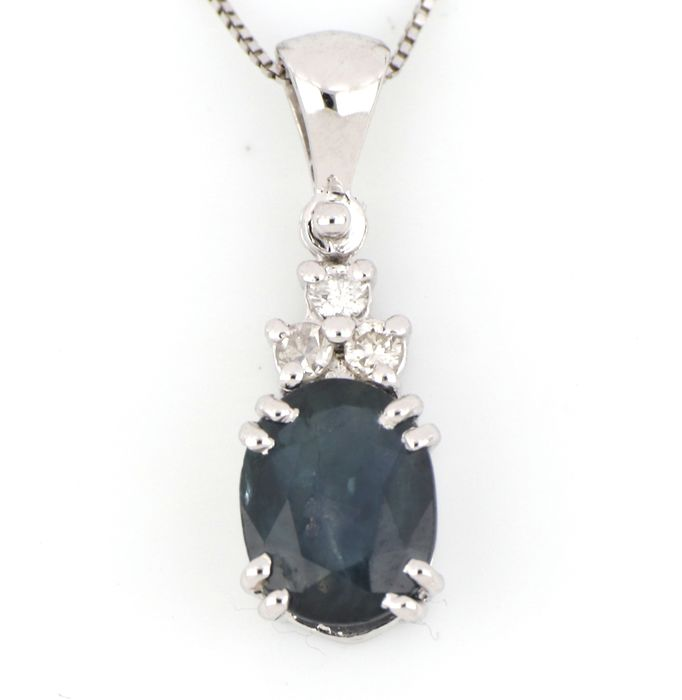18 kt. White gold - Necklace, Necklace with pendant - 1.20 ct Sapphire - Diamonds