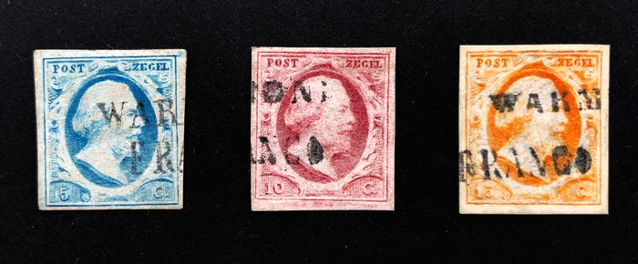 Niederlande 1852 - First issue with long cancellation Warmond Franco - NVPH 1/3