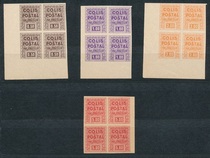 Frankreich 1941 - Timbre de mise a jour, never issued, in blocks of four - Maury 165C-165F