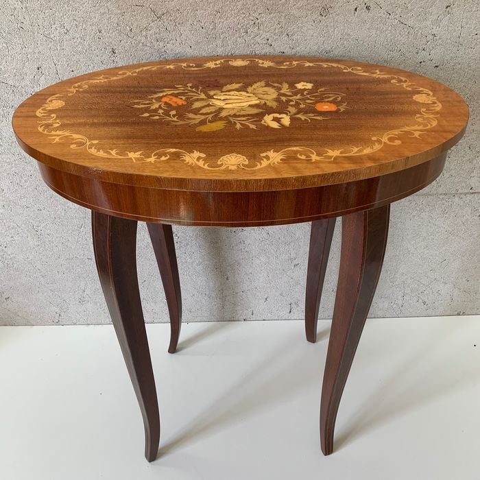 Original Music Table With Fine Floral Marquetry - Wood